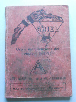 Ariel moto 1931-32 manuale uso italiano originale epoca genuine owner's manual