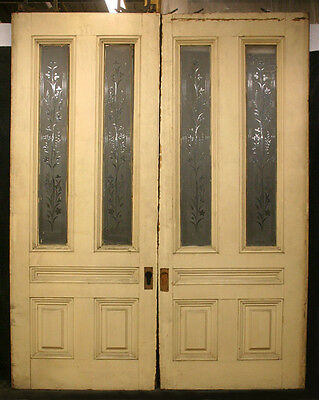 "75""x96""x3"" Pair Antique Vintage Victorian Double Pocket Doors Glass Lite Window"