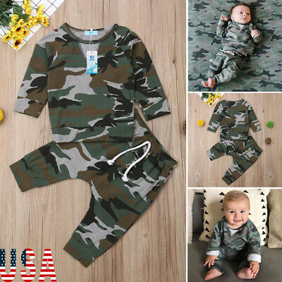 Newborn Baby Boys Girls Hoodie T-shirt Tops+Pants Outfits Toddler Clothes Set US