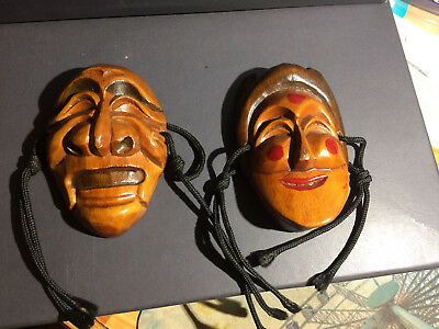 Pre-Owned Lot of (2) Wood carved Happy/Sad Face Masks theatrical