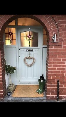 Original Edwardian 1930s Stained Glass Front Door And Two Side Panels