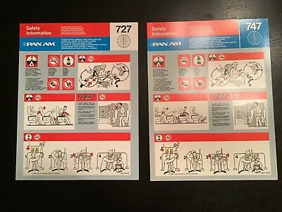2 Pan Am 727/747 Safety cards