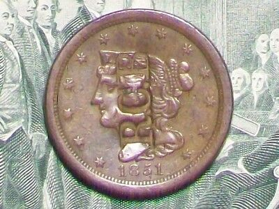 OLD (EF) *1851* HALF CENT NICELY COUNTERSTAMPED on the OBV. ONLY 147,672 MINTED