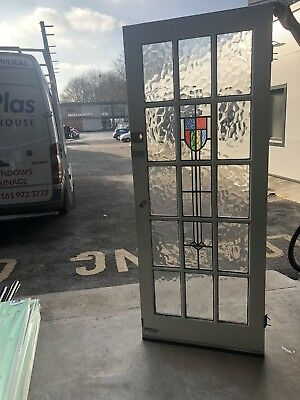 Reclaimed Georgian Style Period Door With Original Stained Leaded Glass