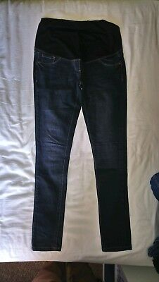 Next Maternity Skinny Jeans Dark Wash Over Bump Size 12 Long