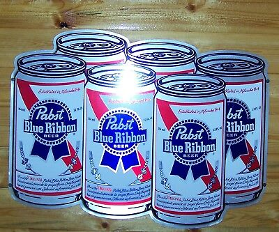 Vintage (6 - Pack Cans) Pabst Blue Ribbon PBR Metal/Tin Sign!~> {EUC}