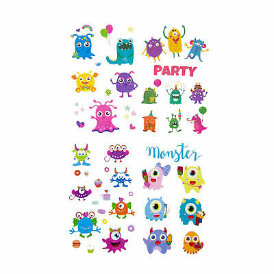 Kinder Monster Tattoo Set ca. 60 Stk Temporäre Tattoos Spielen Kindergeburtstag