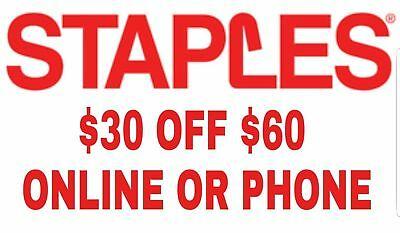 3X🌟STAPLES COUPONS (THREE) $30 off $60 Online ONLY 🌟 30 60 25 75 10🌟 EXP=3/24