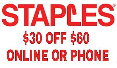 2X STAPLES COUPONS 🌟(TWO)🌟 $30 off $60 Online ONLY EXP 1/20 🌟 30 60 25 75 10