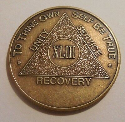 aa alcoholics anonymous bronze 43 year coin token medallion