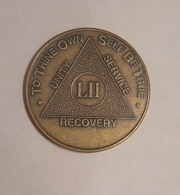 AA Bronze Alcoholics Anonymous 52 year coin medallion