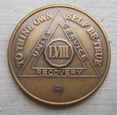 aa alcoholics anonymous bronze 58 year recovery sobriety coin medallion
