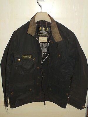 barbour international jacket waxed cotton motorcycle c38/97 s