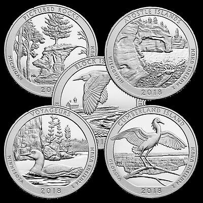 "A COMPLETE 2018 D or P or S Five Quarter National Parks ""BU"" Set US ATB Series"