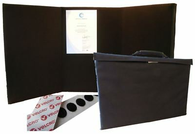 Portable Display Board Tri-fold (A2 Portrait) BLACK with Carry Case & Hook Coins