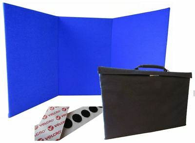Portable Display Board Tri-fold (A2 Portrait) BLUE with Carry Case & Hook Coins