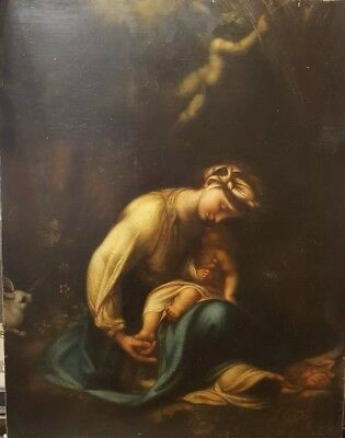 Original 19th Century Religious Oil Painting after Correggio Italian Madonna