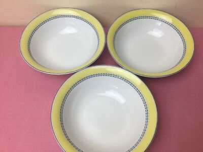 Royal Doulton Blueberry 3 x Soup / Cereal Bowls Used Condition 16cm
