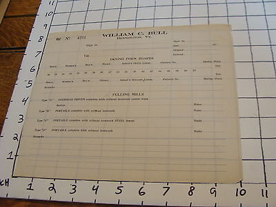 Vintage Early Washing Machine Paper: William c. Bull Bennington VT unused order