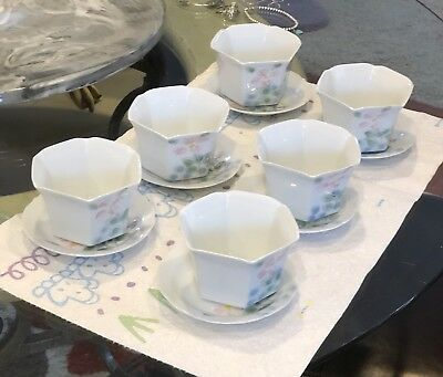 Antique Japanese Porcelain Set Of 6 Tea or soup handmade cups and saucers