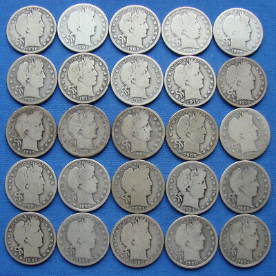 *NICE LOT OF (25) BARBER HALF DOLLARS ALL WITH DATES Lot #1 - ESTATE FRESH*