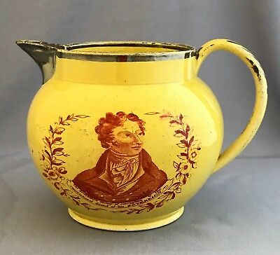 Early 19th c. Canary Yellow Ware Staffordshire Portrait Pitcher Jug