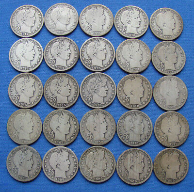 *NICE LOT OF (25) BARBER HALF DOLLARS ALL WITH DATES Lot #2 - ESTATE FRESH*