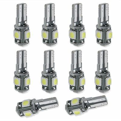 10pcs 12V T10 5SMD 5050 LED Canbus Error Free Interior Light Lamp Wedge Bulb