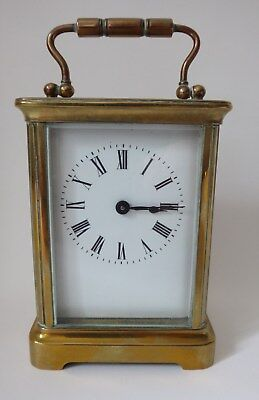 Antique French brass CARRIAGE CLOCK timepiece original condition & working order