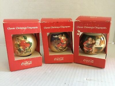 3 Vintage Cola Classic Santa Ball Christmas Ornaments Limited Edition 1978