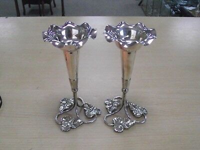 Beautiful Pair Of Antique Silver Plated Epergnes / Vases By Frank Cobb & Co