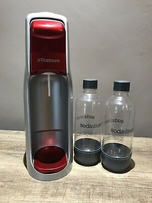 Red Soda Stream Fizzy Drink Maker with 2 Drinks Bottles With CO2 Bottle