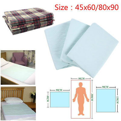 Incontinence Washable Bed Pads 80 x 90 cm Reusable High Absorbency with Tucks UK