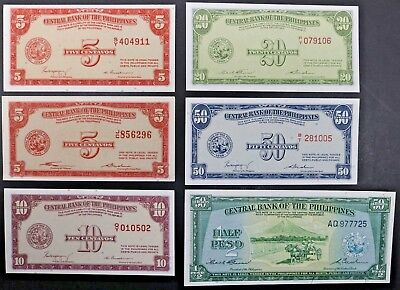Central Bank of the Philippines Variety Lot of 6 Notes Incl. 5 10 20 50 Centavos