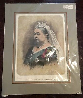 Rare Antique 1887 Queen Victoria Original Wood Engraving Hand Colored with Mat