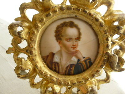 Antique Georgian English Lord Byron Missolonghi Greece Miniature Portrait Paint