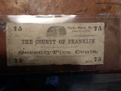 Franklin County Va 75 Cent Note 1862 Obsolete Currency Civil War Era Rocky Mount