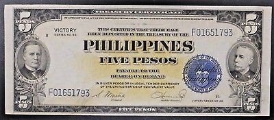 Philippines Five Pesos Victory Note Treasury Certificate Series 66 XF / AU