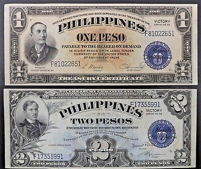 Philippines Central Bank Victory Notes One & Two Pesos ND 1949 Provisional Issue