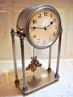 ANTIQUE FRENCH SILVER 8 DAY PORTICO MANTLE CLOCK RESTORED good working order.