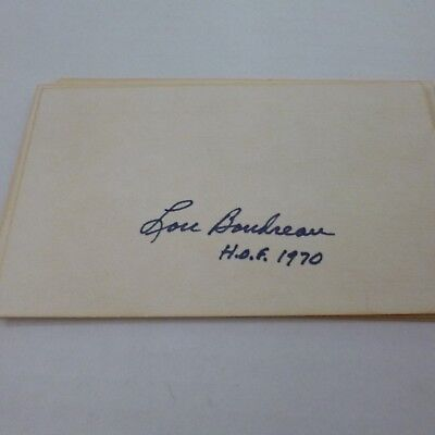 Signed Index Card by MLB Hall of Fame Shortstop Lou Boudreau