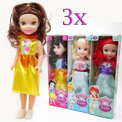 Set Of 3 Princess Doll Girls Toy Gift Playset Xmas Childrens 25Cm Fun New