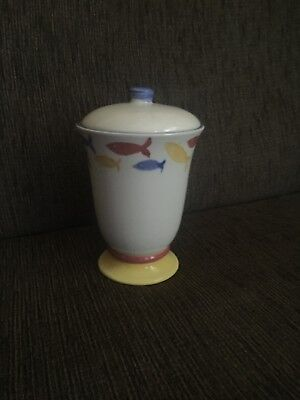 Vintage Laura Ashley Pot with lid With hand Painted Fish Design