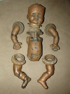 VINTAGE Doll Head and Body Metal Industrial MOLD, baby doll, AMAZING!