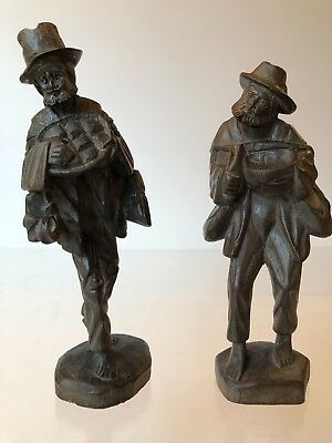 VTG 2pc 1950s FOLK ART~MAN PEDDLER TRAVELER HAND CARVED~WOOD FIGURES~EUROPEAN