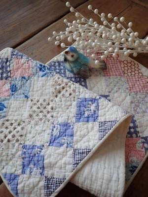 Farmhouse Blues! Vintage One Patch Table Quilt RUNNER 29x11