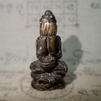 Phra Pidta Closed Eyes Genuine Thai Buddha Art Antique Holy Statue Old Diety