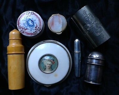 Lot Antique Vintage French Collectables Powder Compact Trinket Pill Box Metal