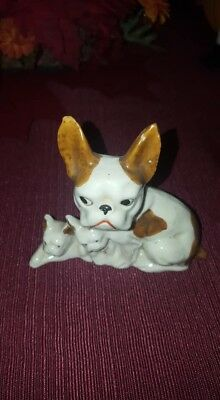 Vintage Brown and White Three Boston Terriers French Bulldogs figurine Japan