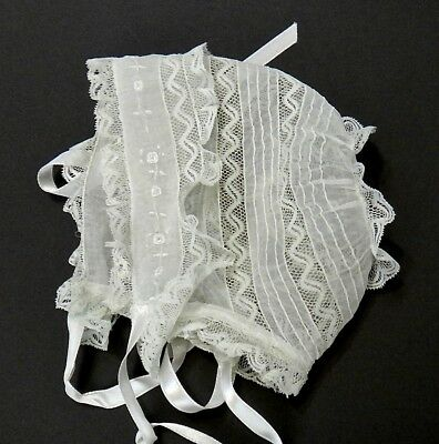 French Baby Bonnet Normandy Valenciennes Lace Batiste Embroidery Pin Tucks FINE!